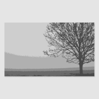 TREE IN THE FOG RECTANGLE STICKERS