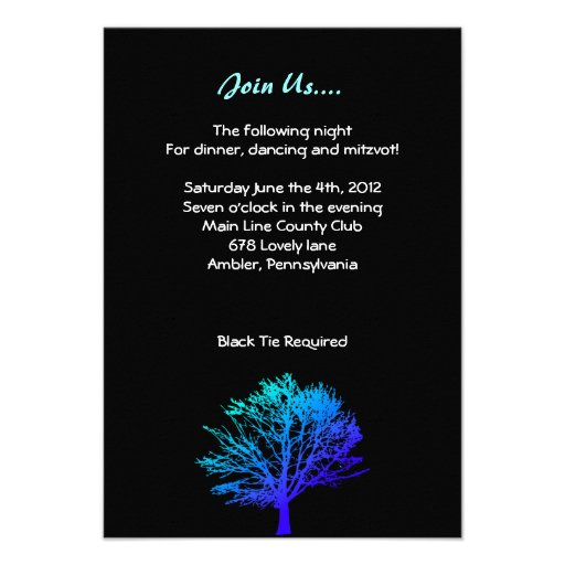 Tree in the Woods Bar Bar Mitzvah Reception Card Invitation