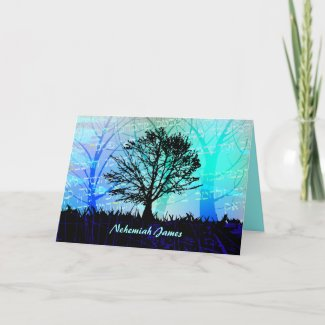Tree in the Woods Bar Bar Mitzvah Thank You Cards card