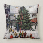 Tree in Town Square Throw Pillow