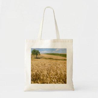 Tree In Wheat Field Landscape Tote Bag