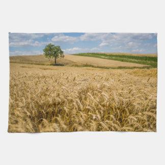 Tree In Wheat Field Landscape Towel