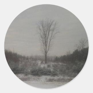 Tree in Winter Classic Round Sticker