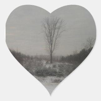 Tree in Winter Heart Sticker