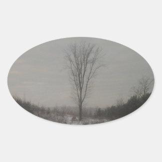 Tree in Winter Oval Sticker