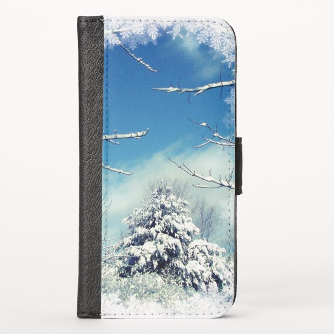 Tree in Winter Snow iPhone X Wallet Case