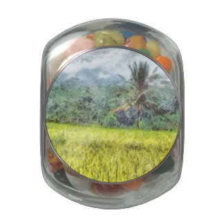 Tree is the border between farm and forest glass candy jar