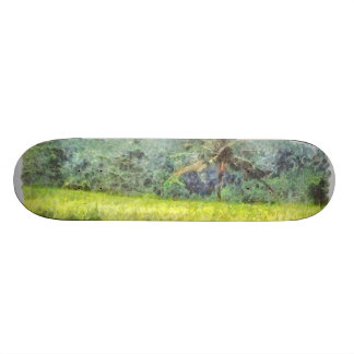Tree is the border between farm and forest skateboard deck