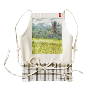 Tree is the border between farm and forest zazzle HEART apron