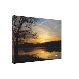 Tree lake sunrise Stretched Canvas Print