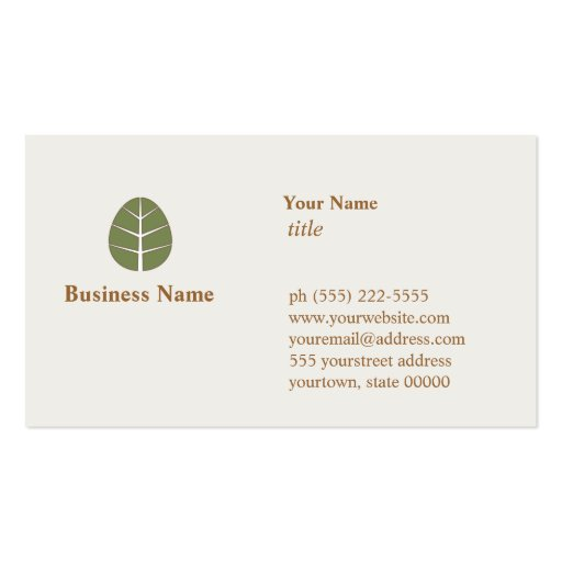 Tree leaf business card zazzle for Leaf business cards