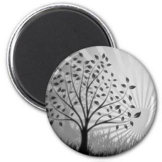 Tree Leaves Grass Silhouette & Sunburst - B&W 2 Inch Round Magnet