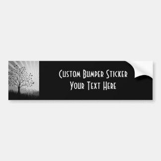 Tree Leaves Grass Silhouette & Sunburst - B&W Bumper Sticker