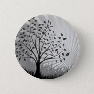 Tree Leaves Grass Silhouette & Sunburst - B&W Button