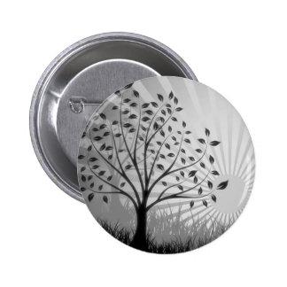 Tree Leaves Grass Silhouette & Sunburst - B&W Button