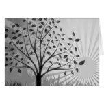 Tree Leaves Grass Silhouette & Sunburst - B&W Card
