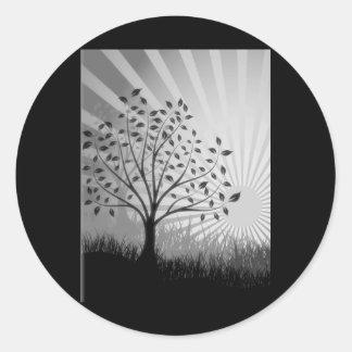 Tree Leaves Grass Silhouette & Sunburst - B&W Classic Round Sticker