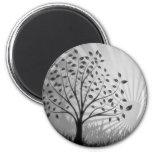 Tree Leaves Grass Silhouette & Sunburst - B&W Fridge Magnets