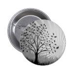 Tree Leaves Grass Silhouette & Sunburst - B&W Pin