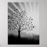 Tree Leaves Grass Silhouette & Sunburst - B&W Poster