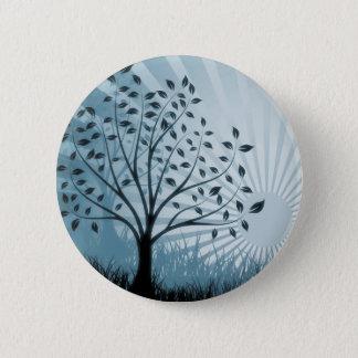 Tree Leaves Grass Silhouette & Sunburst - Blue Button