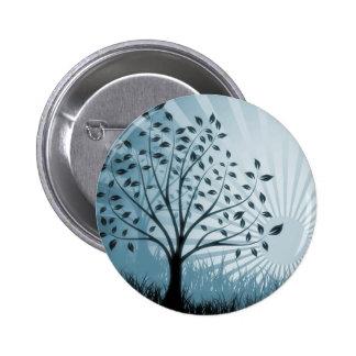 Tree Leaves Grass Silhouette & Sunburst - Blue Pins