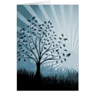 Tree Leaves Grass Silhouette & Sunburst - Blue Card