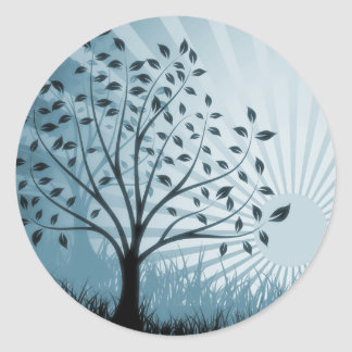 Tree Leaves Grass Silhouette & Sunburst - Blue Classic Round Sticker