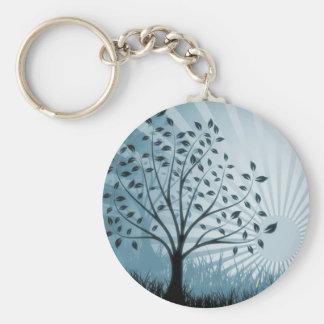 Tree Leaves Grass Silhouette & Sunburst - Blue Keychain