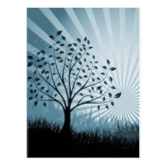 Tree Leaves Grass Silhouette & Sunburst - Blue Postcard