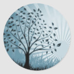 Tree Leaves Grass Silhouette & Sunburst - Blue Sticker