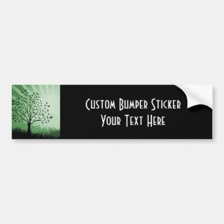 Tree Leaves Grass Silhouette & Sunburst - Green Bumper Sticker