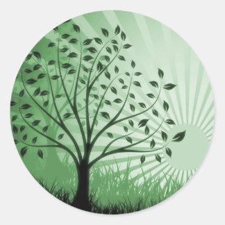 Tree Leaves Grass Silhouette & Sunburst - Green Classic Round Sticker