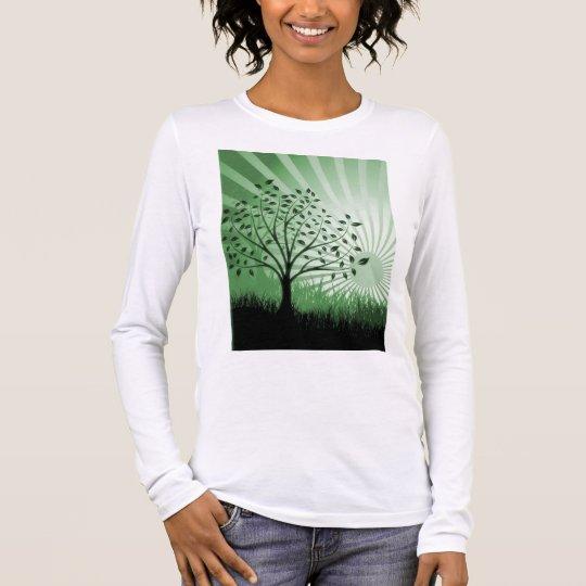 Tree Leaves Grass Silhouette & Sunburst - Green Long Sleeve T-Shirt