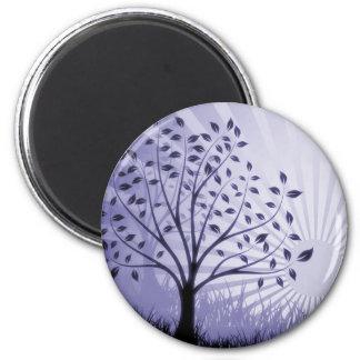 Tree Leaves Grass Silhouette & Sunburst - Indigo 2 Inch Round Magnet