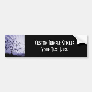 Tree Leaves Grass Silhouette & Sunburst - Indigo Bumper Sticker