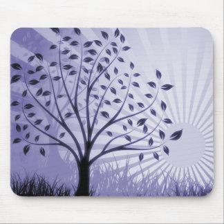 Tree Leaves Grass Silhouette & Sunburst - Indigo Mouse Pad