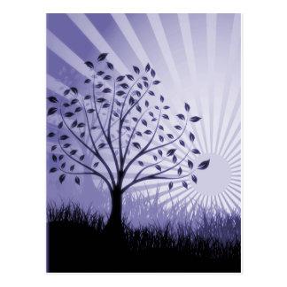 Tree Leaves Grass Silhouette & Sunburst - Indigo Postcard
