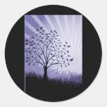Tree Leaves Grass Silhouette & Sunburst - Indigo Round Sticker