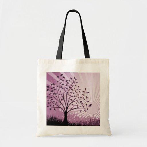 Tree Leaves Grass Silhouette & Sunburst - Pink Budget Tote Bag