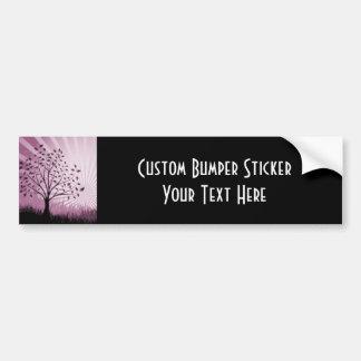 Tree Leaves Grass Silhouette & Sunburst - Pink Bumper Sticker