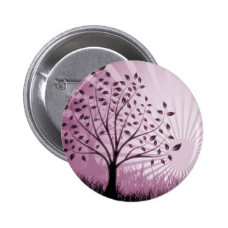 Tree Leaves Grass Silhouette & Sunburst - Pink Buttons
