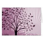 Tree Leaves Grass Silhouette & Sunburst - Pink Greeting Card