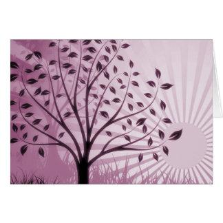 Tree Leaves Grass Silhouette & Sunburst - Pink Card