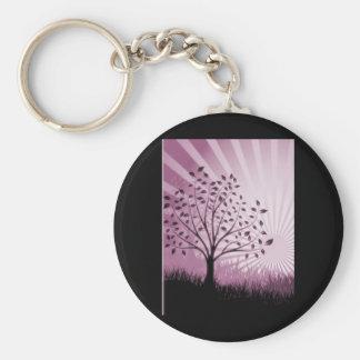 Tree Leaves Grass Silhouette & Sunburst - Pink Keychain