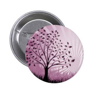 Tree Leaves Grass Silhouette & Sunburst - Pink Pinback Button
