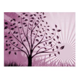 Tree Leaves Grass Silhouette & Sunburst - Pink Postcard