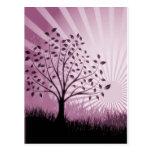 Tree Leaves Grass Silhouette & Sunburst - Pink Postcards