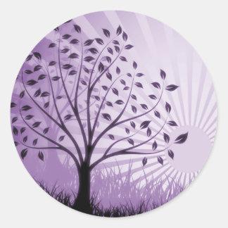 Tree Leaves Grass Silhouette & Sunburst - Purple Classic Round Sticker