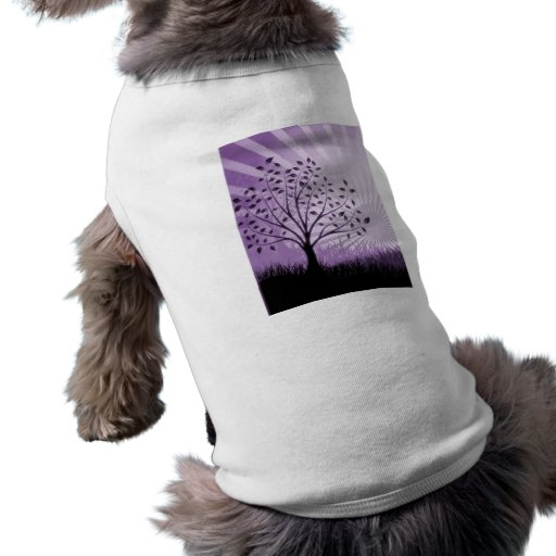 Tree Leaves Grass Silhouette & Sunburst - Purple Doggie Tshirt